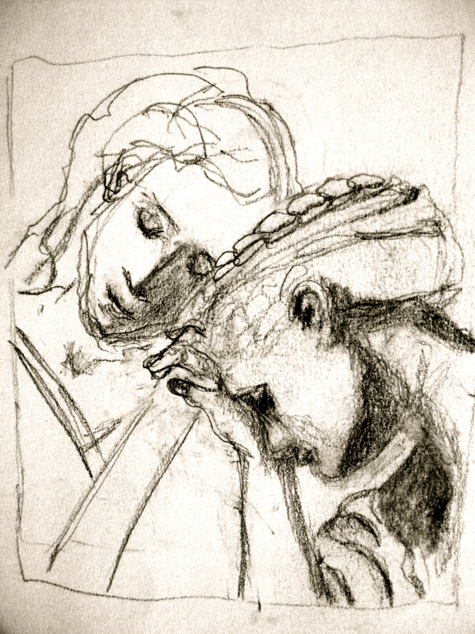 I sketched this detail from an old master's painting found in an art book. Wanted to capture the two women together, and the angle of their heads (I actually didn't do a very good job but there you are!)
