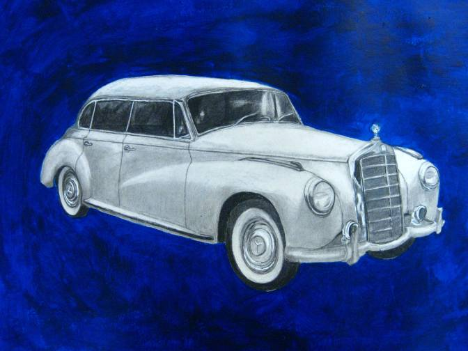 1956 Mercedes Benz 300c 4-door sedan: What can I say, except Tim owns one and it is truly a cool car, if you care about cars! Anyhow it is my very first car drawing, so I am rawther proud of it.