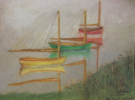 Three Catboats in cove, in mist. ©Pamela Spiro Wagner All rights reservedThis one was inspired from a photo but is not a copy, done in colored pencils and oil pastels.