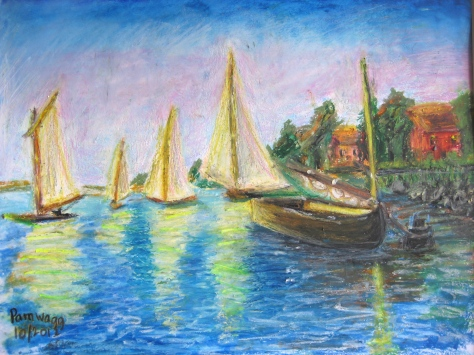 Boats at Evening, after Monet