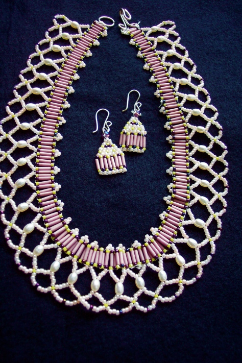 Netted Necklace with earrings (made for twin sister)