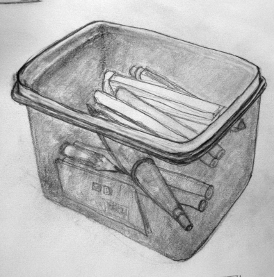 Study in pencil of plastic container of doodads