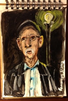 "Small acrylic portrait of a white man in front of streetlamp at night. 3"" by 5"""