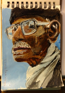 """Small acrylic portrait of an African-american man in glasses and a winter scarf, 3"""" by 5"""""""