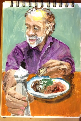 "Small Acrylic portrait of man, eating, 3"" by 5"""