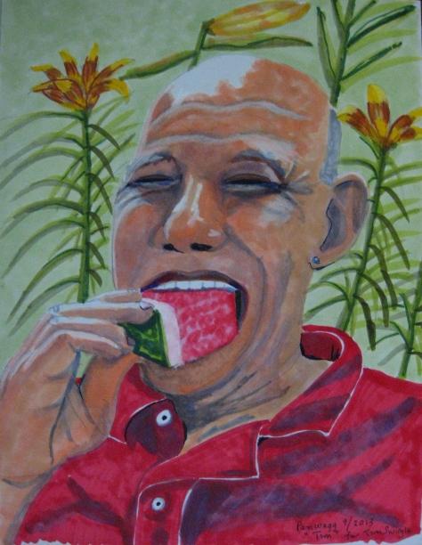 TIm, my best Gay Boyfriend, eating watermelon.