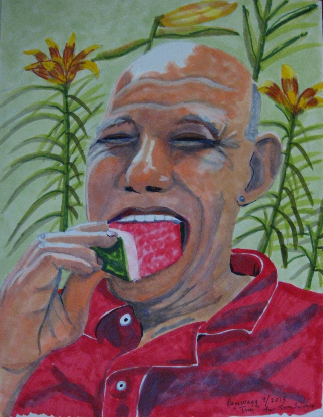 TIm, my best Gay Boyfriend, eating watermelon.