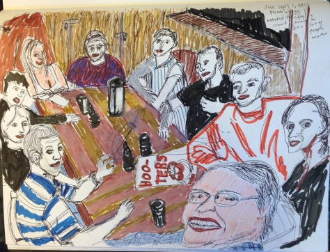 I did not understand what or where this party was taking place as I drew it, until I noticed the menus...