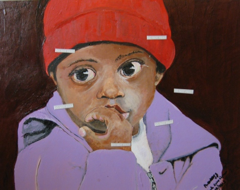 Acrylic portrait of African American Child in red watch cap and lavender sweatshirt...
