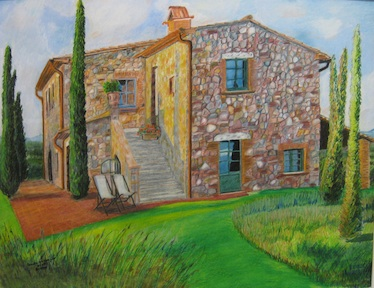 "Drawn from a photo...of a real ""castle farm"" -- I wonder if the owners will find me?"