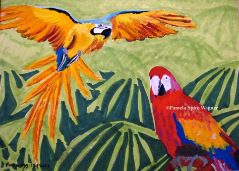 Parrots in Gouache for Elizabeth (for Christmas)