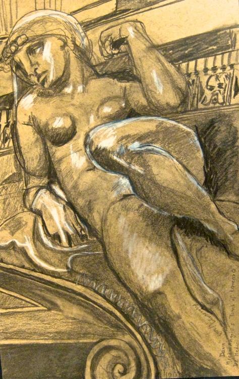 Sculpture of Dawn on tomb of Lorenzo de Medici by Michelangelo, drawn by Pamela Spiro Wagner, aka Pamwagg, 12/6/2013