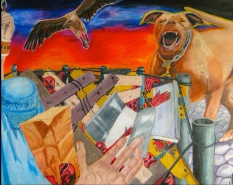 Chained, a colored pencil drawing 17 by 22 inches by pamwagg 2014