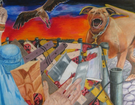 Chained - colored pencil painting