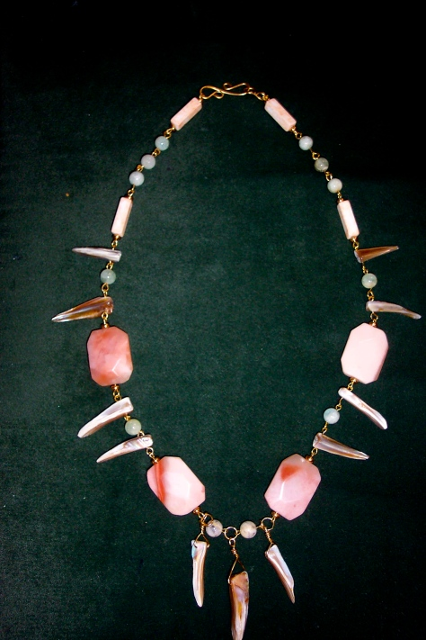 Brass necklace with Jade and shell teeth
