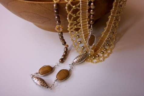 Two handmade Necklaces, in arty photograph