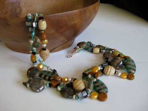 Green Terracotta Tri-stranded Necklace