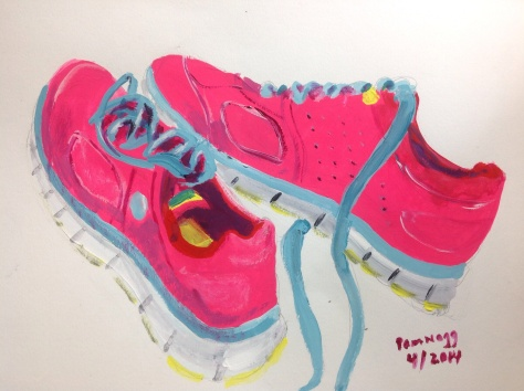 newest painting...whimsical gouache done on the spur of the moment of my running shoes.