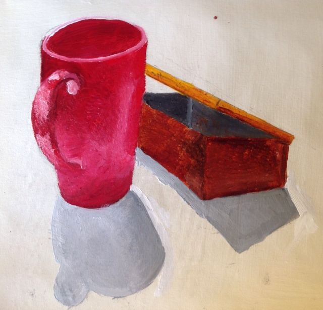 cup and box in oils