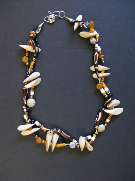 Raw Wood Toothed Necklace on Brass