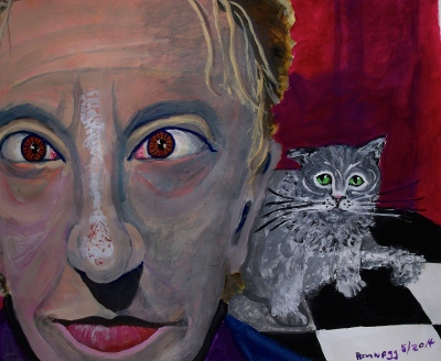Red Rum In Red Room (or Why Is that Cat Scared of Me?) Gouache on 100% cotton paper Strathmore 500)