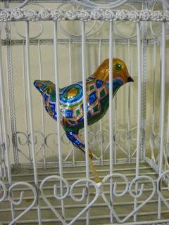 Bird in Cage - Papier mach by Pamela Spiro  Wagner
