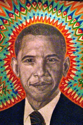 """Obama Bright"" a portrait  of Barack Obama in acrylics and graphite with Swarovski crystals that apparently didn't please our leader...Or he doesn't have the common courtesy to thank me for it."