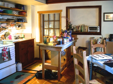 Kitchen and work area in cottage