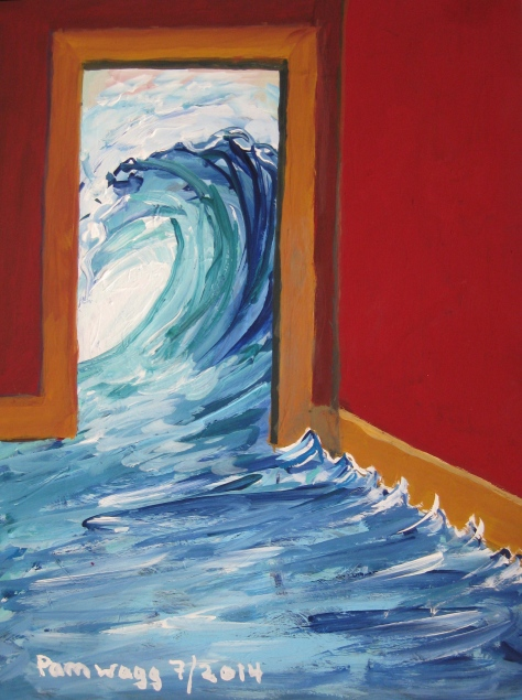 Curling Ocean Wave in Red Room - Painting in Gouache