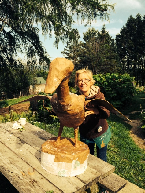 Pam with unfinished paper mache goose, TooGoose Lautrec....