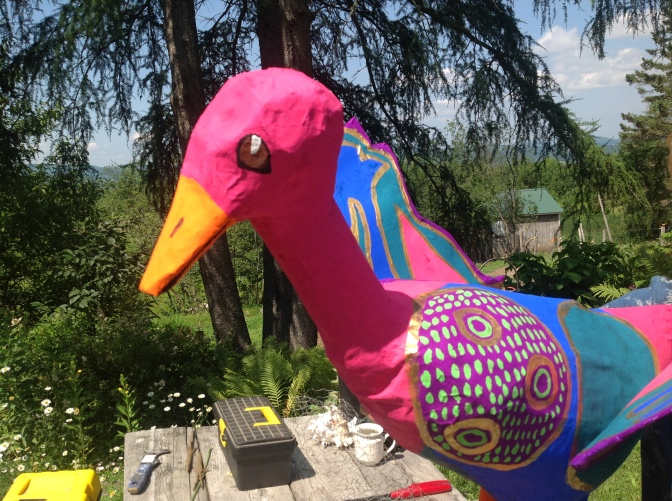 New Art: Papier Mache Goose and Turtle Painting