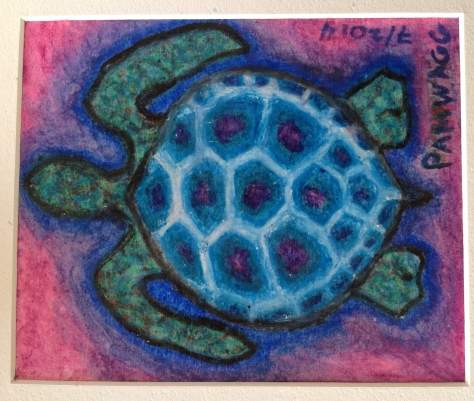 Sea Turtle in Turquoise and Blues...Water soluble oil pastel  c. 7 inches by 6 inches