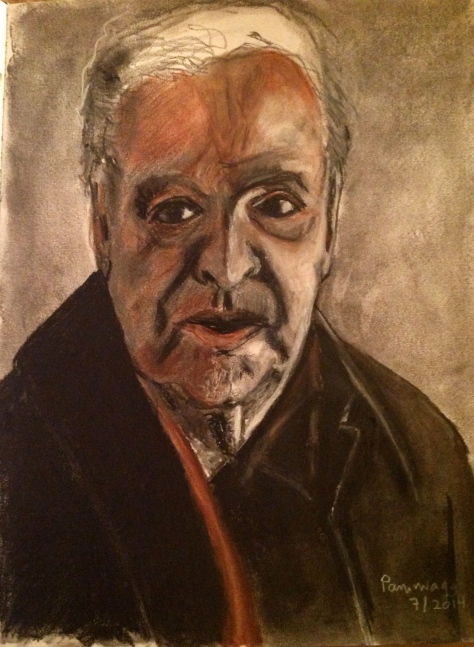 Old Movie Star in conte crayon and charcoal