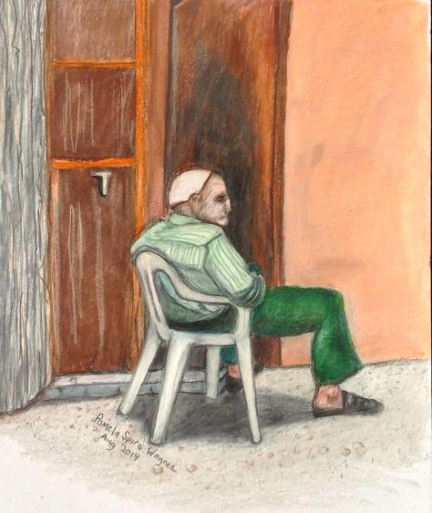 Elderly PaLestinian Man Sitting in the Sun