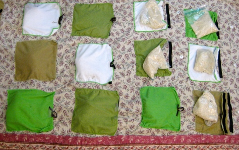 Handmade weighted blanket with microfiber pockets for rice bags