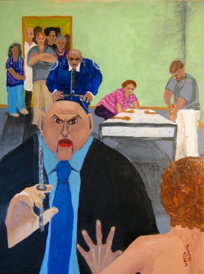 Doctor Threatens Restraints and Shot of Haldol - Painting in acrylics c. 18 by 27 inches