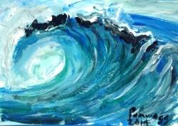 Tidal Wave ATC (Artist Trading Card)