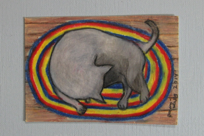 2.5 inches by 3.5 inches Cat on Braided Rug,  drawing in colored pencil