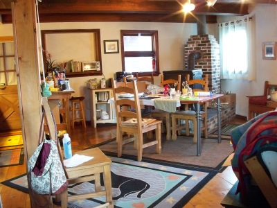 Dining/arts area of carriage house Summer 2014