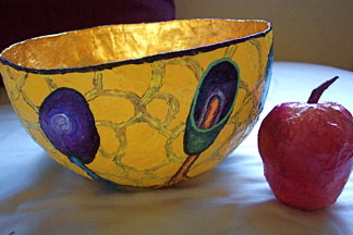 Papier Mache Bowl, painted with  slimemold motif and papier mache apple