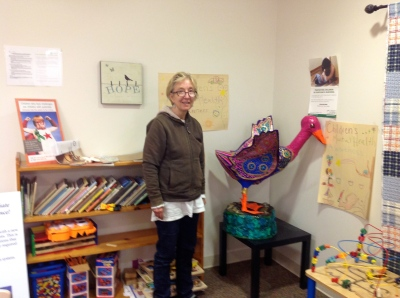 Pam with Dr Geuss in NEK Human Services Dept -- Children's Area
