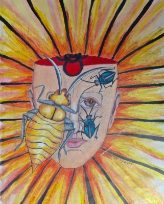 BioHazard Head and Face with Bugs...first drawing done at Care Bed in St Johnsbury Vt in Nov 2014 by Pamela Spiro Wagner