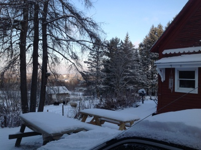Farmhouse and sunrise on snow in Vermont 2014