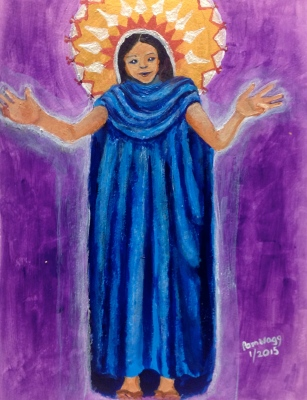 "Central American Welcoming Madonna, in gouache and acrylics c. 12"" by 8"""