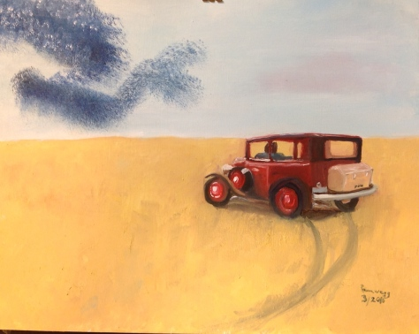 A Murmuration of Starlings with '32 Chevy (free hand copy in oil paint of oil pastel drawing I did at Retreat and gave away)