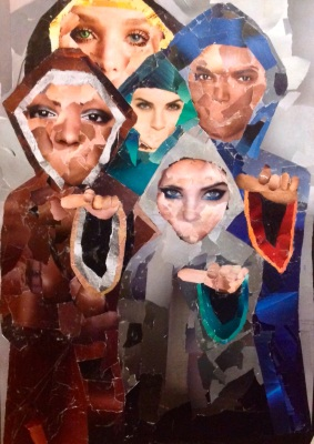 Collage of the voices- the Five People C. 3' by 2'  made with magazines on watercolor paper backing and largely glued with homemade glue of crushed saltines and water ( before i knew that vermonts central hospital would provide me with all the gluestix i needed!)