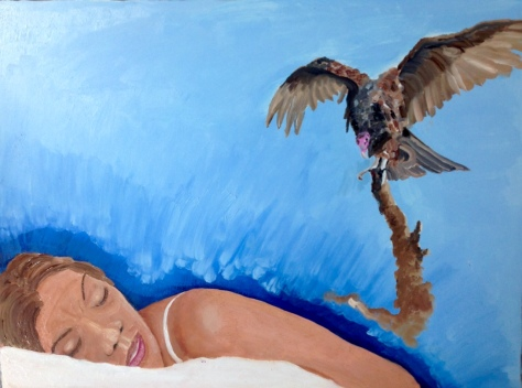 Dreamer with Vulture Tearing At the Fabric of the Universe