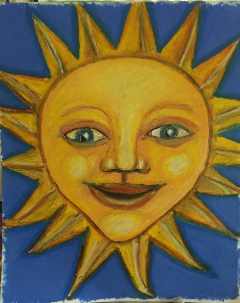 Sun Face Painting By Pamela Spiro Wagner - plan for papier mache sculpture