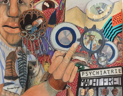 "Psychiatrie Macht Frei? Mixed media anti-psychiatry picture, 24""by 19"""