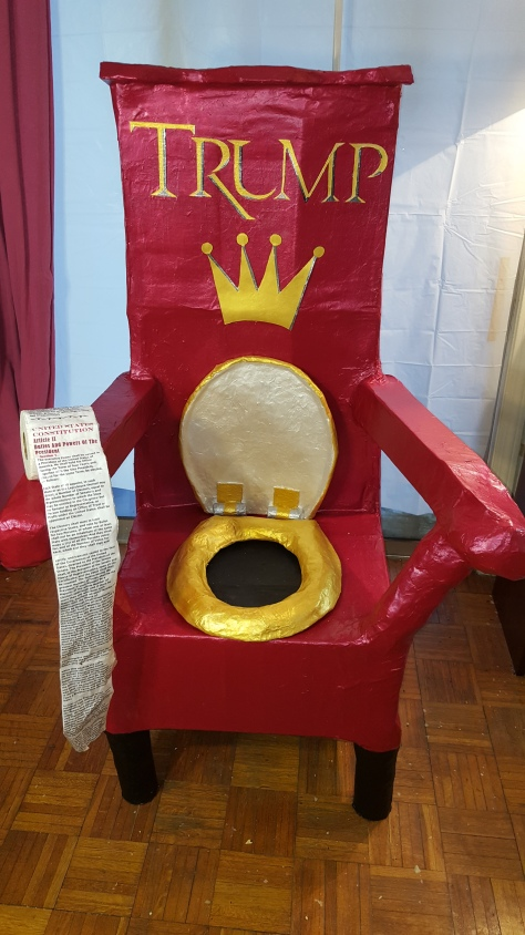 "TRUMP THRONE ""A MISTAKE? ERRR, NOT AT ALL, IT IS JUST YOUR THRONE, SIR!"""